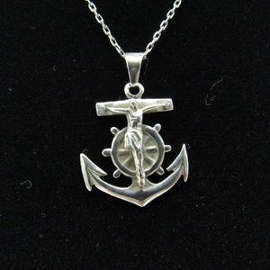 Jewelry - SOLD Vintage 925 Sterling Crucifix Anchor Pendant